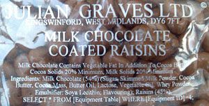 SQL in chocolate raisins ingredients